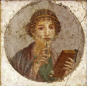 Female education - Portrait emphasizing the female subject's literacy, from Pompeii, mid-1st century AD