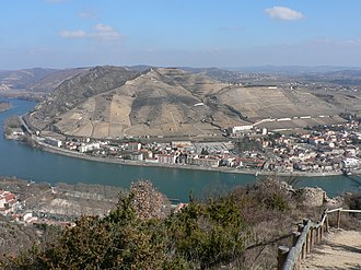 Hermitage AOC - The Hermitage hill, here seen from the heights of Tournon-sur-Rhône, stands above the Rhône River and the town of Tain-l'Hermitage.