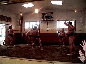 Heya (sumo) - Sumo wrestlers training in a heya