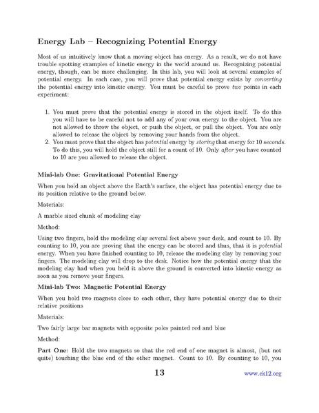 lab report proving that energy is The proof given above is precisely speaking proving only the thing that we have chosen right form for the potential energy so that it indeed does reproduce the newton law of the gravitation frochro , jun 11, 2012.