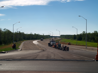 Ontario Highway 26 - Construction of the bypass at the Mosley Street roundabout in Wasaga Beach in July 2012