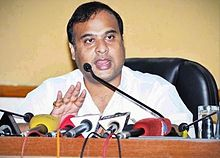 Himanta Biswa Sarma briefing media at his office dispur.jpg