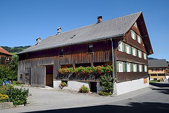 Housebarn - A housebarn listed as a historic building in Schwarzenberg, Austria