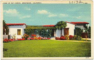 Pat O'Brien (actor) - Postcard of Pat O'Brien's home in Brentwood, California
