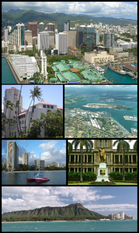 Clockwise: Aerial view of Downtown Honolulu, Pearl Harbor right outside the CDP, statue of King Kamehameha I in downtown, Diamond Head, waterfront on Waikiki Beach, and Honolulu Hale (City Hall)