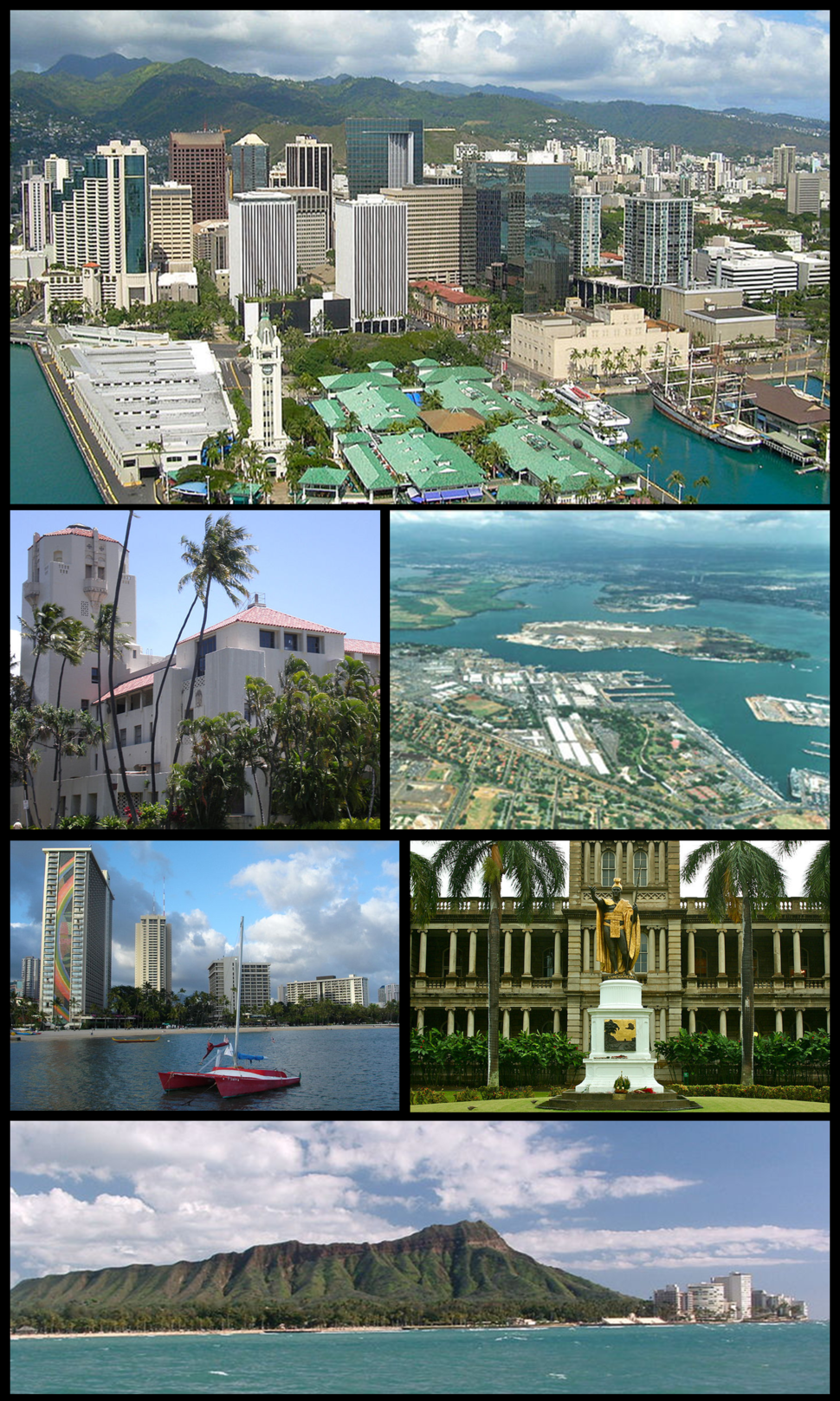 Clockwise from top: Aerial view of Downtown Honolulu, Pearl Harbor right outside the city, statue of King Kamehameha I in front of Ali'iolani Hale downtown, Diamond Head, waterfront on Waikiki Beach, and Honolulu Hale (City Hall)