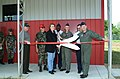 Honorary guest and dignitaries participate in the Ribbon Cutting Ceremony, conducted during the Opening of the Regional Fire Fighting Training Facility at Fort Smith, Arkansas - NARA 6629195.jpg