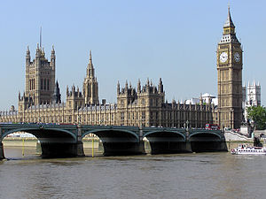 The Houses of Parliament, seen over Westminster Bridge
