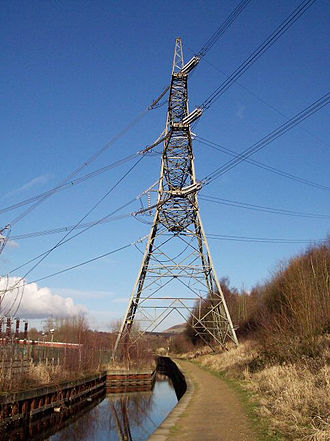 Huddersfield Narrow Canal - Electricity Pylon straddling the canal at Stalybridge.