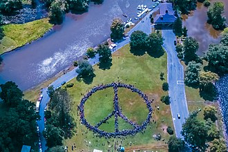 Peacebuilding - Human Peace Sign - Symbolically Represents an Holistic Approach to Peacebuilding.