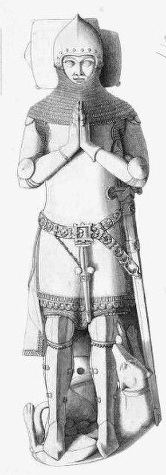 Humphrey de Bohun, 4th Earl of Hereford - 19th-century drawing of effigy of Humphrey de Bohun, 4th Earl of Hereford, Hereford Cathedral.