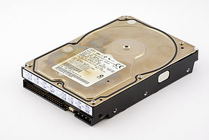 Computer data storage - 15 GiB PATA hard disk drive (HDD) from 1999; when connected to a computer it serves as secondary storage.
