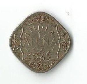 Coins of the Indian rupee - Image: INR half anna George 6 R