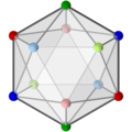 Icosahedron with colored vertices, 3-fold.png