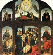 Ignoto del XVII secolo Natività e ai lati S. Pietro e S. Paolo, in alto Trasfigurazione, e ai lati S. Benedetto e S. Scolastica Lentini Chiesa della SS. Trinità e S. Marziano.jpg
