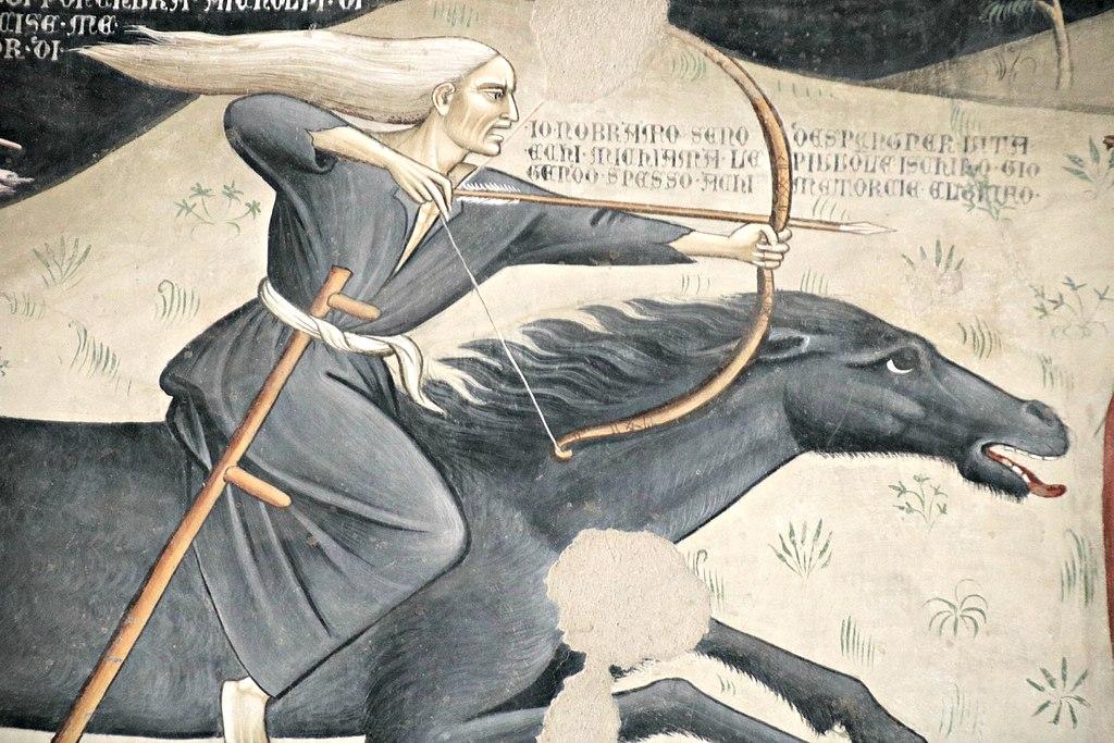 Bartolo di Fredi (1330-1410), Il trionfo della morte, (1360 ca.), affresco nella Chiesa di San Francesco (Lucignano)