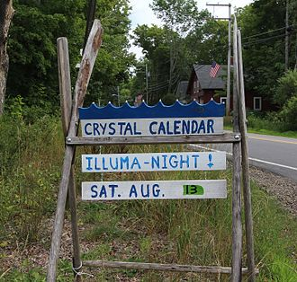 Crystal Lake (Gilmanton, New Hampshire) - The Crystal Calendar lists public activities on the lake. It can be found at the intersection of Crystal Lake Road and Route 140.