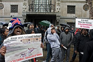 British Indian - Tamils protesting against the Sri Lankan Civil War outside India House