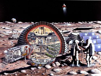 A lunar base with an inflatable module. Conceptual drawing.
