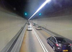 Inside of Aberdeen Tunnel northbound, Hong Kong.jpg