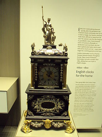 Thomas Tompion - Ornate clock (known as the 'Mostyn Tompion') made by Thomas Tompion in the British Museum, 1690 AD