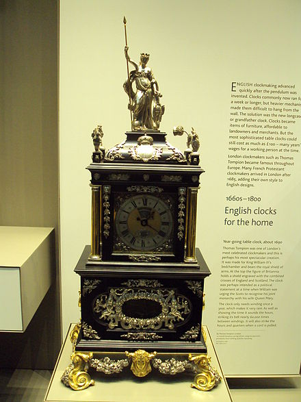 Ornate clock (known as the 'Mostyn Tompion') made by Thomas Tompion in the British Museum, 1690 AD Inside the British Museum, London - DSC04228.JPG