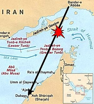 Iran Air Flight 655 - Locater map depicting Iran Air 655's origination point, destination and approximate location of the shootdown. (The air corridor is not necessarily a direct path.)