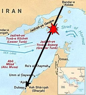 Locater map depicting Iran Air Flight 655's origination point, destination and approximate shootdown location. Iran Air 655 Strait of hormuz 80.jpg