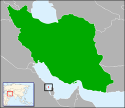 Map indicating locations of Iran and Bahrain
