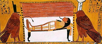 Isis - Isis, left, and Nephthys as kites near the bier of a mummy, 13th century BCE