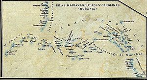 Palau - Map of 1888 showing the Spanish East Indies, being part of it Palau Islands (map without Philippines)