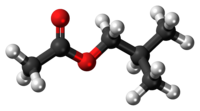 Ball-and-stick model of the isobutyl acetate molecule
