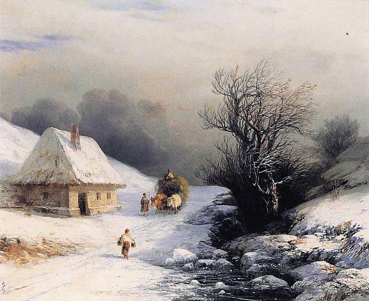 File:Ivan Constantinovich Aivazovsky - Little Russian Ox Cart in Winter.JPG