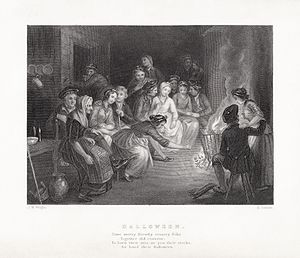 Halloween (poem) - Edward Scriven's engraving of John Masey Wright's illustration to Robert Burns' Halloween