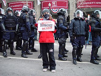 Social movement - Photo taken at the 2005 U.S. Presidential inauguration protest.