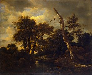Winter landscape with dead tree