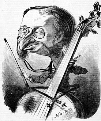 Jacques Offenbach - The composer-cellist caricatured