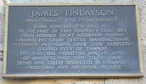 James Finlayson (industrialist) - Finlayson plaque on the house in Edinburgh where he died