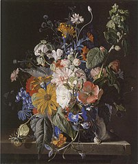 Flower still-life and snails on a stone ledge