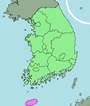Jeju uprising - Map of South Korea with Jeju highlighted at the bottom in pink