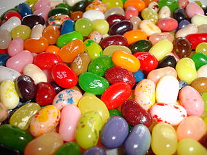 A bunch of Jelly Belly jelly beans resting com...