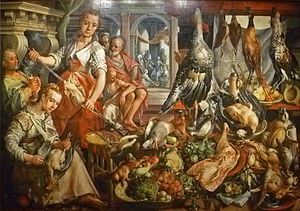 Mary of Bethany - Martha preparing the meal while (in the background) Mary of Bethany  sitting at Jesus' feet; painting (1566) by Joachim Beuckelaer