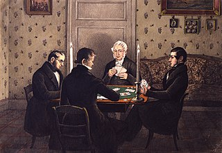 Johann Anton Sarg and three friends playing whist by candlelight.
