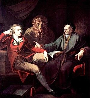 フュースリー『チューリッヒの歴史家にして詩人のヨハン・ヤコブ・ボードマーと語るヨハン・ハインリヒ・フュースリー Johann Heinrich Füssli im Gespräch mit dem Zürcher Historiker und Literat Johann Jacob Bodmer 』(1778年 - 1781年)
