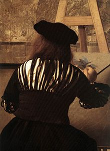 Detail of Vermeer's Art of Painting showing the painter at his easel using a maulstick. Johannes Vermeer - The Art of Painting (detail) - WGA24677.jpg