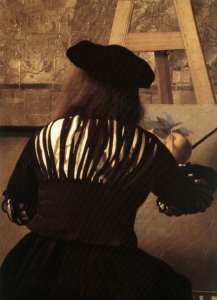 Detail of Vermeer's The Art of Painting showing the painter at his easel using a maulstick. Johannes Vermeer - The Art of Painting (detail) - WGA24677.jpg