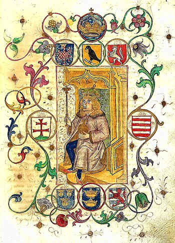 Corvinus heraldry and young Matthias as depict...