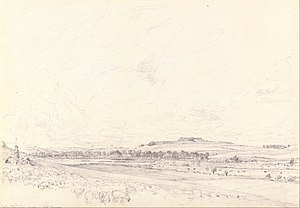 Old Sarum at Noon, a graphite sketch on slightly textured, medium white wove paper, 23.2 cm × 33.7 cm, 20 July 1829. Yale Center for British Art.