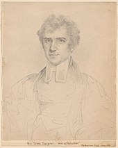 "Simple portrait in pencil on cream colored paper of a young white man in minister's clothing. Caption at the bottom reads ""Rev. John Pierpont: ""Airs of Palestine."""