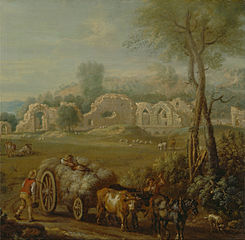 Haycart Passing a Ruined Abbey